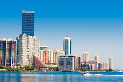 Miami Skyline. View from Key Biscayne stock images