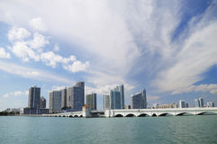 Miami skyline. From Biscayne Bay Stock Images