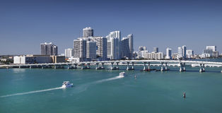 Miami Skyline. From Biscayne Bay stock image