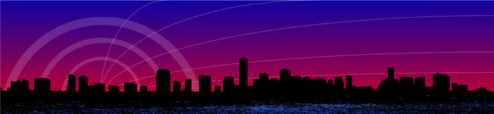 Miami Skyline. As a vector illustration Stock Images