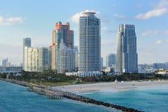 Miami Skyline. Skyline of the city of Miami, Florida along south beach Stock Photos