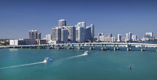 Miami skyline. From Biscayne Bay Stock Photography