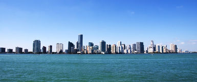 Miami skyline. Panoramic view of Downtown Miami from Key Biscayne Stock Photos