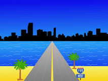 Miami Skyline. And interstate 195 illustration Stock Images