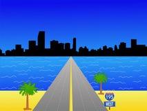 Miami Skyline. And interstate 195 illustration stock illustration