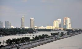Miami Skyline. Afternoon image of Miami Skyline, with MacArthur Cause way Royalty Free Stock Image