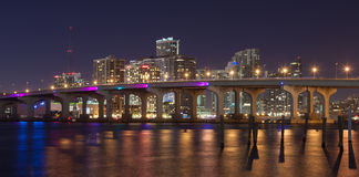 Miami Skyline. And the MacArthur Causeway at night Stock Images