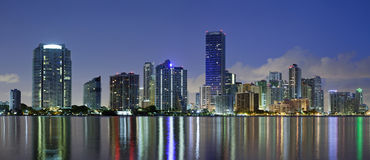 Miami Skyline. Panoramic image of Miami downtown skyline at night Stock Image