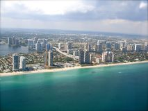 Miami Skyline. View from Plane Royalty Free Stock Image