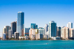 Miami Skyline. Sunny Miami skyline from Biscayne Bay royalty free stock photography