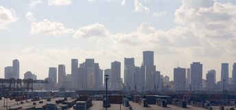 Miami Skyline behind Container Terminal Stock Photo