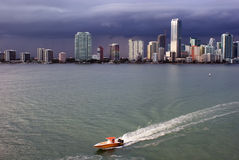 Miami Skyline and Biscayne Bay Stock Image