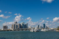 Miami Skyline from Biscayne Bay Stock Image