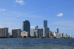 Miami skyline. With cloudy blue sky Stock Photography