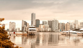 Miami skyline on a cloudy day from Rickenbacker Causeway - FL, U Stock Image