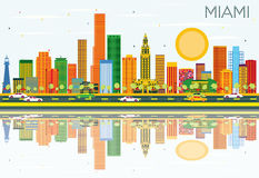Miami Skyline with Color Buildings, Blue Sky and Reflections. Vector Illustration. Business Travel and Tourism Concept with Modern Architecture. Image for Stock Illustration