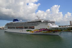 Norwegian Sky cruise liner. At the  Miami port Royalty Free Stock Photography