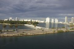 Miami Skyline Day Time. Shot of Miami Beach from cruise ship Stock Image