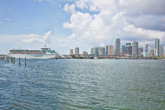 Miami Skyline With Cruise Ship Stock Image