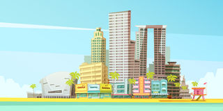 Miami Skyline Design Concept. For business travel and tourism presentation flat vector illustration royalty free illustration