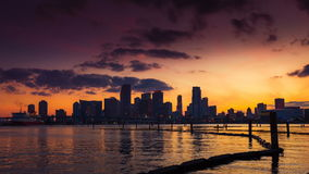 Miami skyline at dusk with clouds passing by stock video