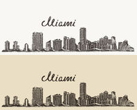 Miami skyline engraved vector hand drawn sketch. Miami skyline big city architecture vintage engraved vector illustration hand drawn sketch Stock Image