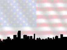Miami skyline with Flag Stock Photography