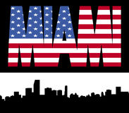 Miami skyline with flag text Royalty Free Stock Image