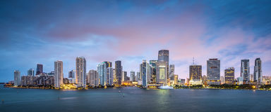 Miami Skyline. Skyline of Miami, Florida, USA at Brickell Key and Miami River Stock Images