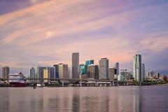 Miami Skyline. Miami, Florida, USA downtown skyline at dawn Royalty Free Stock Images