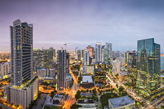 Miami Skyline. Miami, Florida, USA downtown nightt aerial cityscape at night Stock Photo