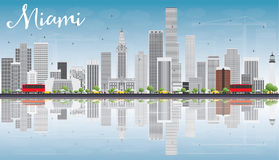 Miami Skyline with Gray Buildings, Blue Sky and Reflections. Vector Illustration. Business Travel and Tourism Concept with Modern Buildings. Image for Royalty Free Stock Image