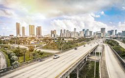 Miami skyline and Highways Stock Photos
