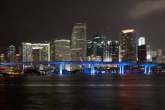Miami skyline illuminated at night Royalty Free Stock Photos