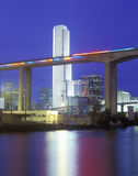 Miami skyline with Metroline Rail Stock Photography