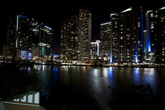 Miami Skyline Night. Downtown Miami Skyline with lights and water - shot at Night - Miami (USA - 2010 Royalty Free Stock Image