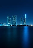 Miami Skyline at night Stock Photos