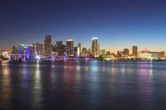 Miami Skyline at Night. Seen from Watson Island Royalty Free Stock Photography