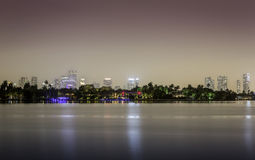 Miami skyline by night Royalty Free Stock Image