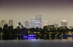 Miami skyline by night Royalty Free Stock Photo