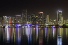 Miami skyline by night Stock Photo