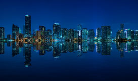 Miami skyline night panorama Royalty Free Stock Photography