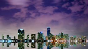 Miami skyline at night time lapse stock footage