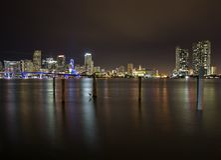 Miami skyline by night Stock Photo