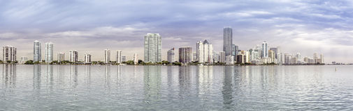 Miami skyline panorama  from Biscayne Bay Royalty Free Stock Photo