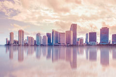 Miami Skyline Pastel. Beautiful soft pastel toned Miami Florida skyline with reflections Stock Photography