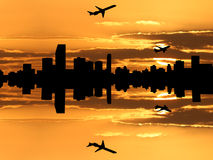 Miami skyline with planes Stock Photography