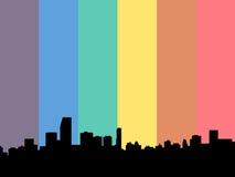 Miami Skyline with rainbow flag Stock Photos