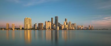 Free Miami Skyline Reflections At Dawn Stock Photos - 137057193
