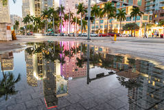 Miami skyline reflections at sunset Stock Image